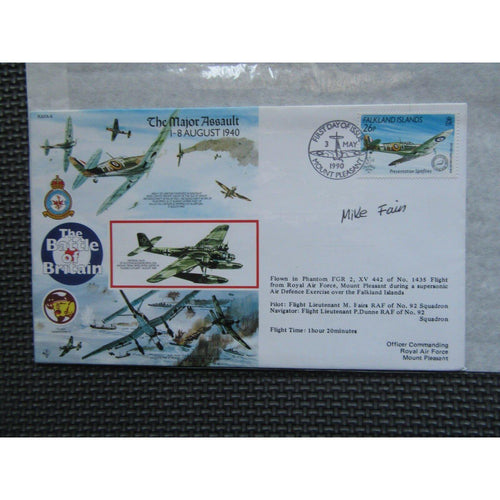 RAFA 4 'Battle Of Britain - The Major Assault Signed & Flown Cover 03/05/90 - uk-cover-lover