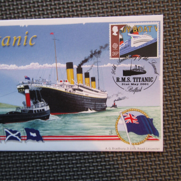 "Bradbury Titanic Cover ""90th Anniv. Of The Launch"" Signed Tony Jackson 31/05/01 - uk-cover-lover"