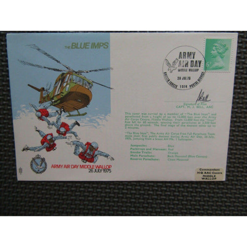 'The Blue Imps' M. J. Bell Signed & Flown Cover 26/07/75 - uk-cover-lover