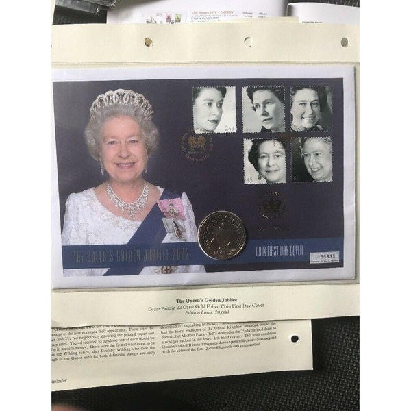 G.B The Queen's Golden Jubilee - 22 Carat Gold Foiled Coin First Day Cover - uk-cover-lover