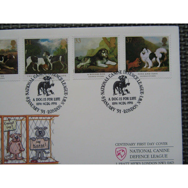 "CoverCraft FDC 'Dogs' PM ""National Canine Defence League, NW1"" 08/01/91 - uk-cover-lover"