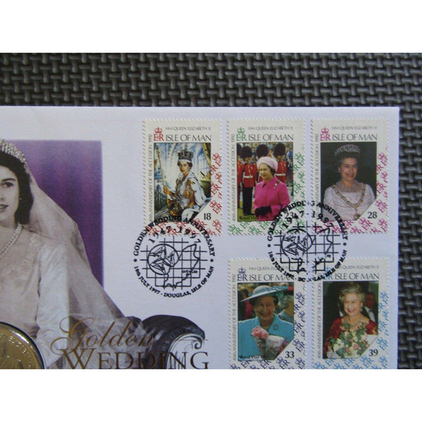 "Isle Of Man ""Golden Wedding Anniversary"" 1 Crown Coin Cover 10/07/97 - uk-cover-lover"