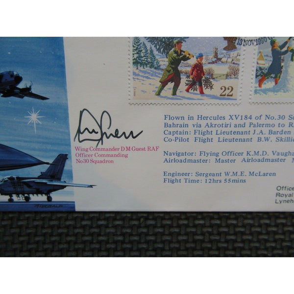 RFDC 89 'Christmas Greetings From The Gulf' D M Guest Signed Cover 13/11/90 - uk-cover-lover