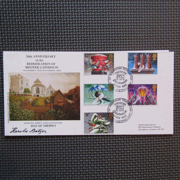 "G.B Hawkwood FDC ""Christmas"" PM 'Minster Gatehouse' 16/11/83 Ltd Edition - uk-cover-lover"