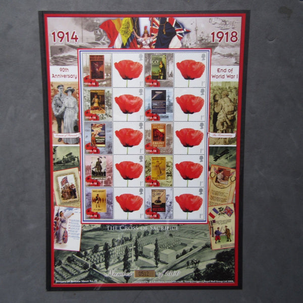 "Bradbury 2008 History Of Britain Sheet No.25 ""90th Anniv. End Of World War I"" - uk-cover-lover"