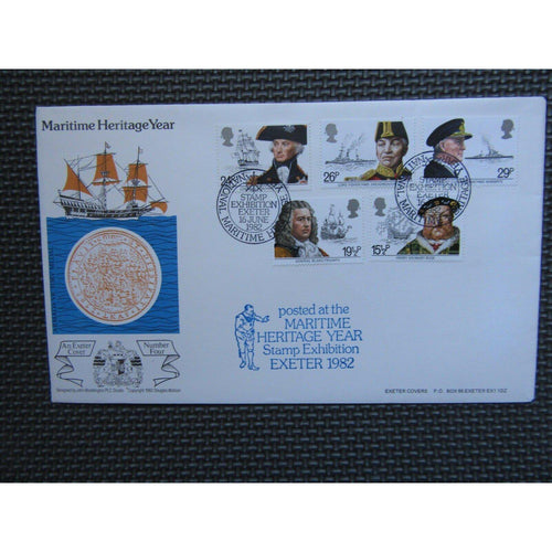 "1982 Exeter Cover ""Maritime Heritage Year"" PM ""Stamp Exhibition, Exeter"" Cat £20 - uk-cover-lover"