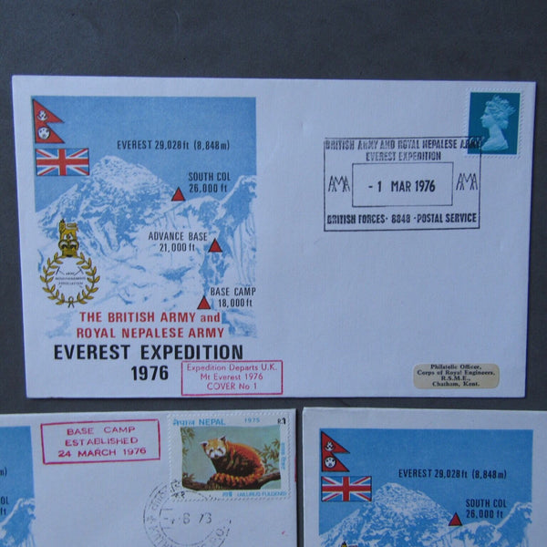 The British Army & Royal Nepalese Army 1976 Everest Expedition 5 Signed Covers - uk-cover-lover