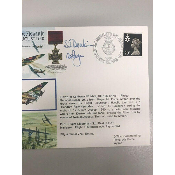 RAFA 5 'Battle Of Britain' Flown & Signed Cover S.J Deakin & A.V Payne 07/04/90 - uk-cover-lover