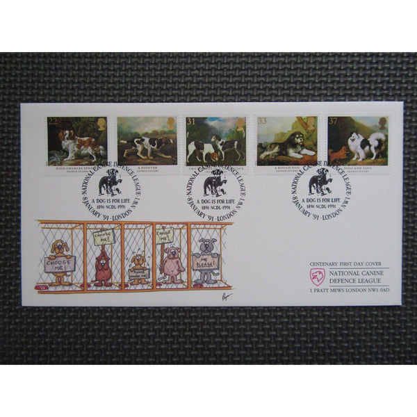 "G.B CoverCraft FDC ""Dogs"" PM ""National Canine Defence League, NW1"" 08/01/90 - uk-cover-lover"