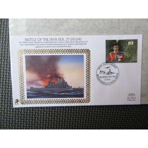 "Benham 22ct Gold Small Silk WWII Cover ""Battle Of The Java Sea"" 27/02/92 - uk-cover-lover"