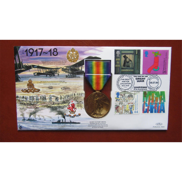 1999 Benham Replica Medal Cover - Allied Victory Medal - JS(MIL)7 - uk-cover-lover