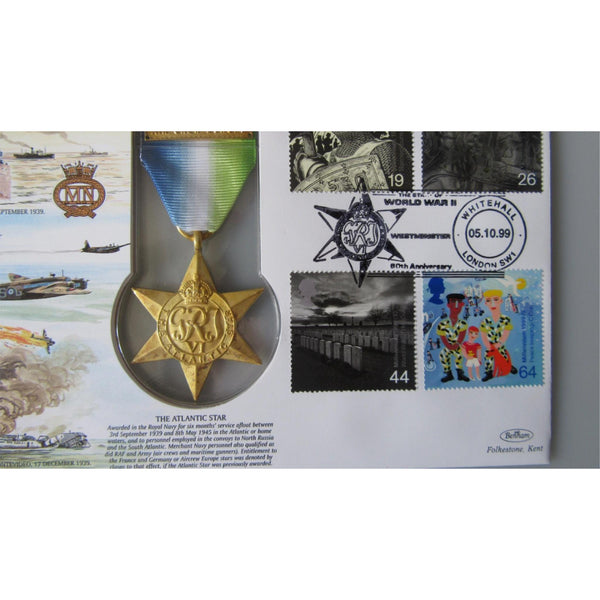 1999 Benham Replica Medal Cover - The Atlantic Star Medal - JS(MIL)10 - uk-cover-lover