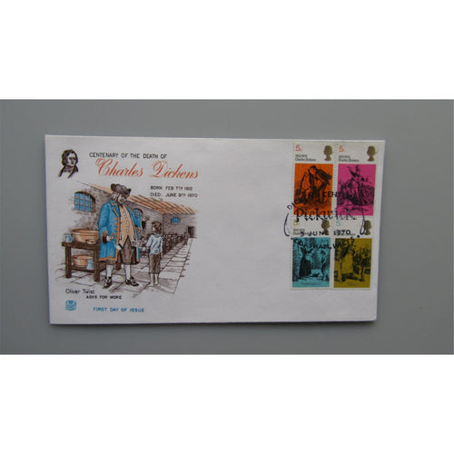 1970 G.B First Day Cover - Literary Anniversaries PM Dickens Centenary, Pickwick - uk-cover-lover