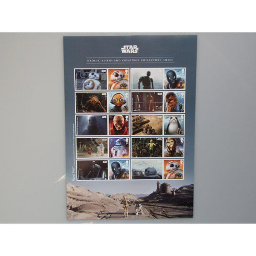 2017 Star Wars - Droids, Aliens & Creatures Collectors Sheet (A4 Size) LS106 MNH - uk-cover-lover