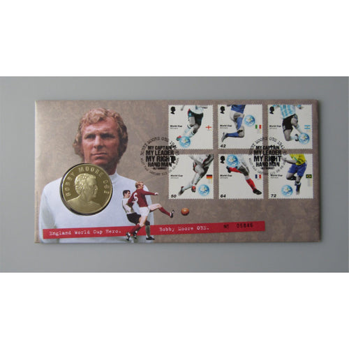 2006 Royal Mail / Mint - World Cup Winner - Bobby Moore Medallic Coin Cover - uk-cover-lover