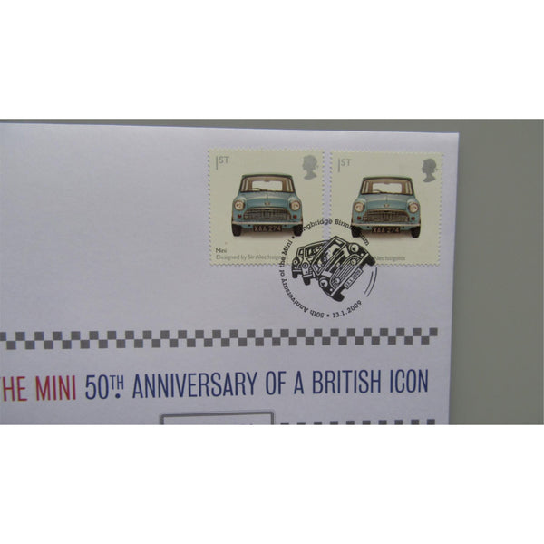 2009 Royal Mail / Mint - The Mini 50th Anniv. British Icon Medallic Coin Cover - uk-cover-lover