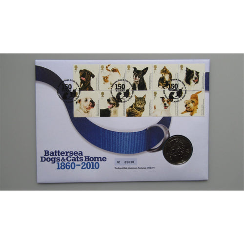 2010 Royal Mail / Mint - Battersea Dogs & Cats Home - Medallic Coin Cover - uk-cover-lover