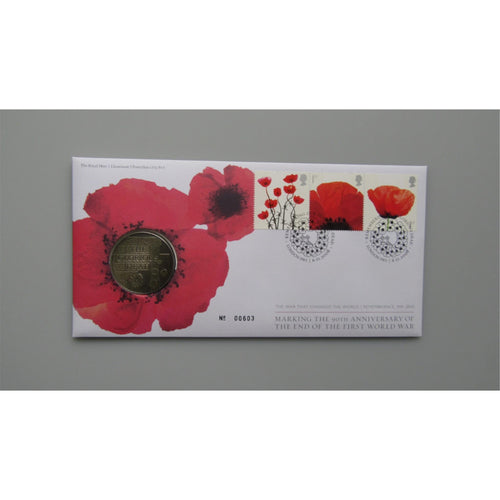 2008 G.B Coin Cover - 90th Anniversary Of The End Of The First World War - uk-cover-lover