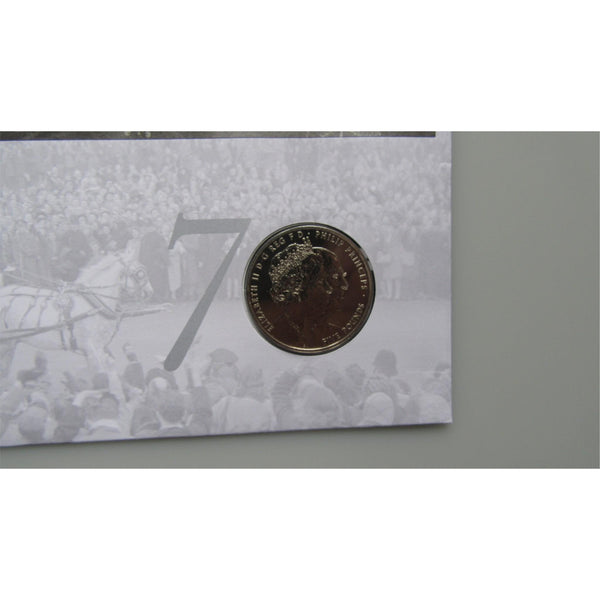 2017 G.B £5 Coin Cover - The Royal Wedding Platinum Anniversary - uk-cover-lover