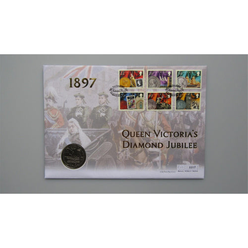 2001 I.O.M & Gibraltar - Queen Victoria's Diamond Jubilee Coin First Day Cover - uk-cover-lover
