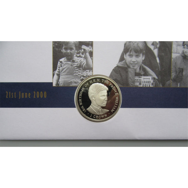 2000 Gibraltar - HRH Prince William 18th - 1 Crown Coin Cover - uk-cover-lover