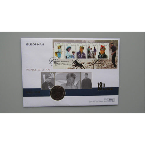 2000 Isle of Man - HRH Prince William 18th - 1 Crown Coin Cover - uk-cover-lover