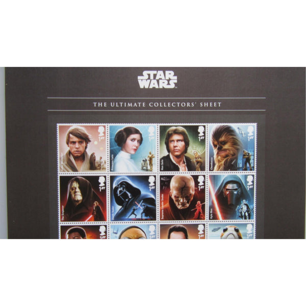 2017 Star Wars - The Ultimate Collectors Sheet (A4 Size) 20 x 1st Class Stamps - uk-cover-lover