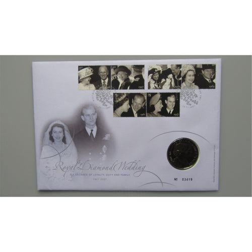 2007 £5 Coin Cover - Royal Diamond Wedding - uk-cover-lover
