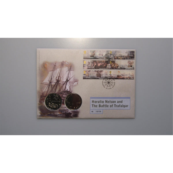 2005 - Horatio Nelson and The Battle Of Trafalgar - Double £5 Coin Cover