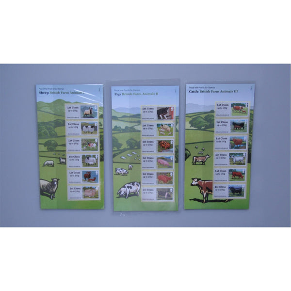 Royal Mail Post & Go Stamps - British Farm Animals I, II & III (All 3 Packs MNH)