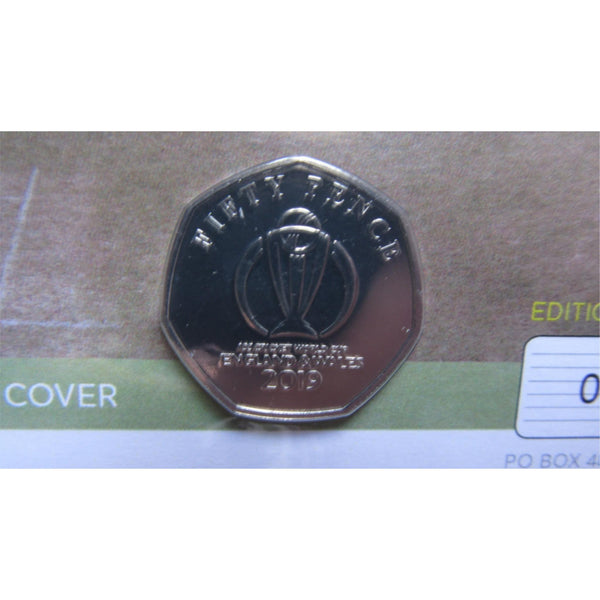 2019 Cricket World Cup Limited Edition 50p Coin Cover With COA