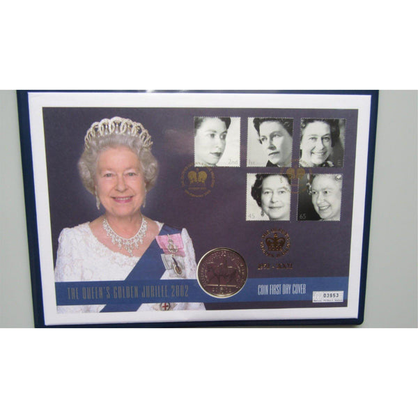 2002 Queen Elizabeth II Golden Jubilee 22 Carat Gold Foiled Coin First Day Cover