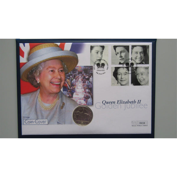 2002 - Queen Elizabeth II Jubilee Day £5 Silver Coin Cover - Limited Edition