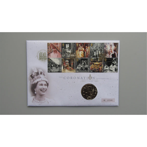 2003 Royal Mail / Royal Mint £5 Coin Cover - The Coronation Anniversary
