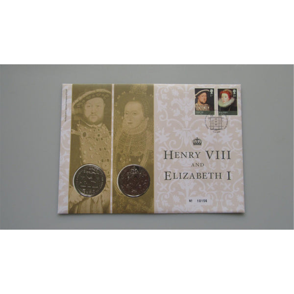 2009 G.B Double £5 Coin Cover - Henry VIII and Elizabeth I