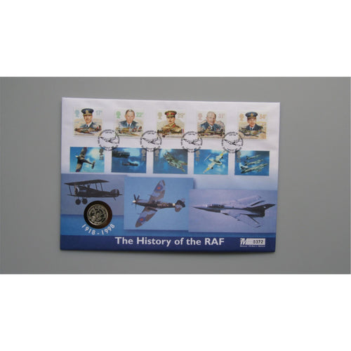 1998 G.B Silver Proof £1 Coin Cover - The History Of The RAF