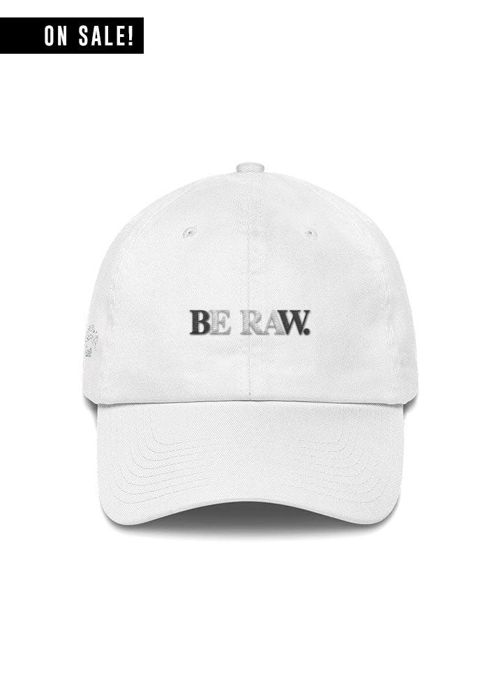 Dad Hat - Be Raw Reverse Logo - White
