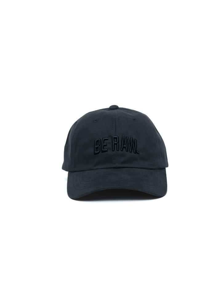 Dad Hat - Be Raw Block logo Black Puff