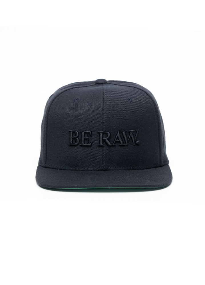 SnapBack - Be Raw Classic logo Black Puff