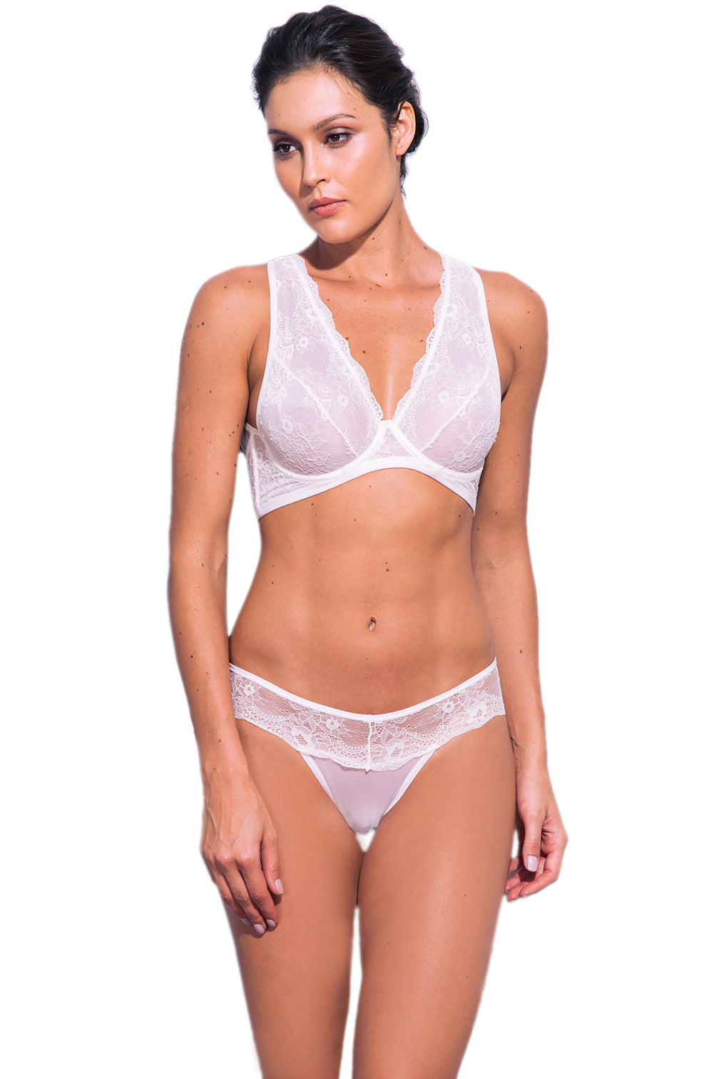 Kendal Tulle Thong with Lace Detail