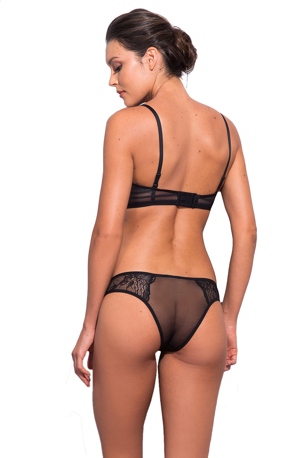 Hanna Lace and Stripe Tulle Thong