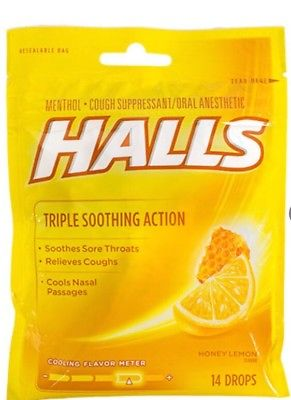 Halls Cough Drops honey-lemon 14 ct per bag
