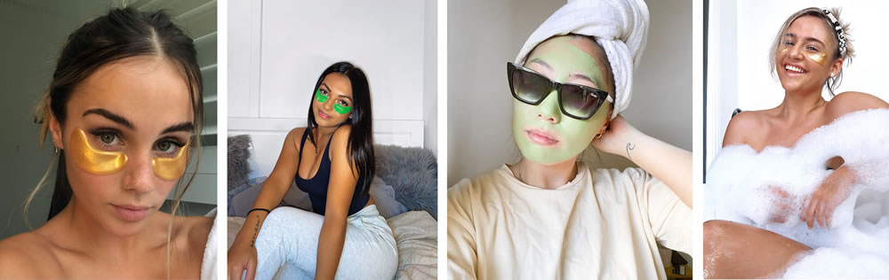 Girls using eye masks