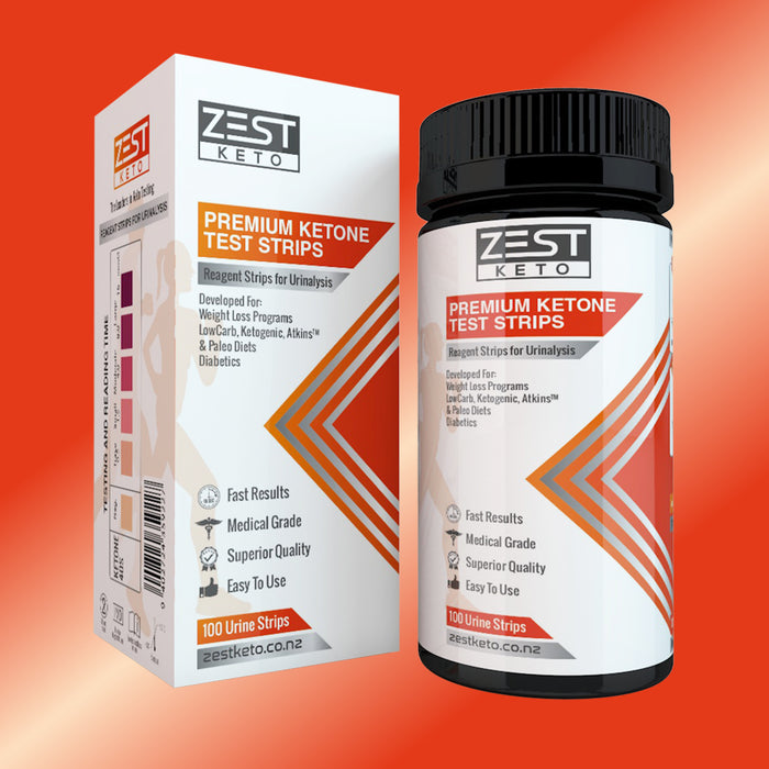 Keto tester strips. Ketone test strips for urine testing. Keto urinalysis tester strips. Pee strips for keto testing. Packet of 100 ketone test strips. Ketostix . Test ketone levels when on a keto diet plan or after having keto recipes. Test ketosis levels. Keto urine strips by Zest Keto.