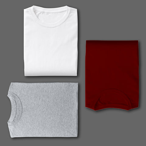 WHITE GREY MAROON COMBO HALF SLEEVE TSHIRTS[PACK OF 3]