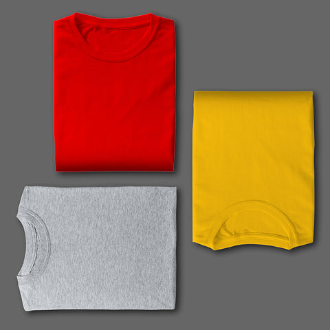 RED GREY YELLOW COMBO HALF SLEEVE TSHIRTS [PACK OF 3]