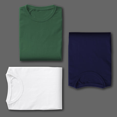 WHITE OLIVE GREEN NAVY BLUE COMBO HALF SLEEVE TSHIRTS[PACK OF 3]