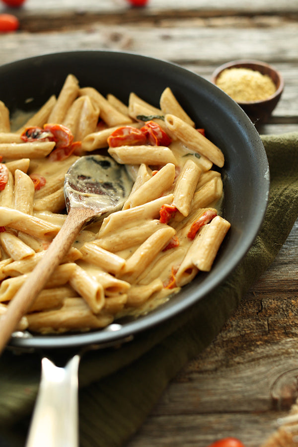 Creamy Vegan Garlic Pasta with Roasted Tomatoes by The Minimalist Baker