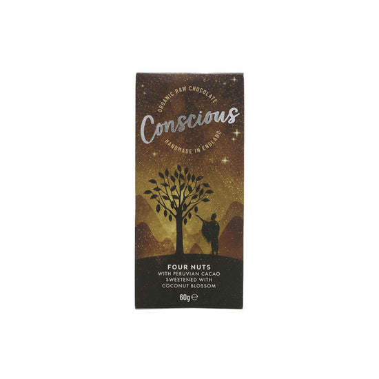 Conscious Chocolate Four Nuts Raw Chocolate Bar (60g)