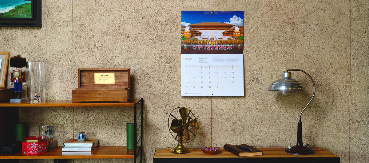 Wall calendar in use